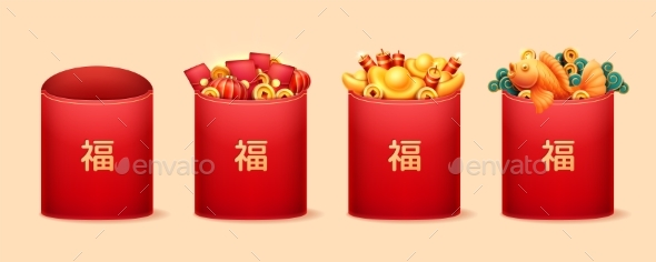 Red Chinese Envelopes with Embossed Hieroglyphs