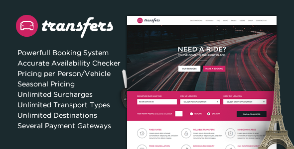 Transfers - Transport and Car Hire WordPress Theme Download