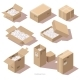 Isometric Cardboard Package Boxes with Filler - GraphicRiver Item for Sale