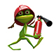 3D Illustration Cheerful Frog Fireman - GraphicRiver Item for Sale