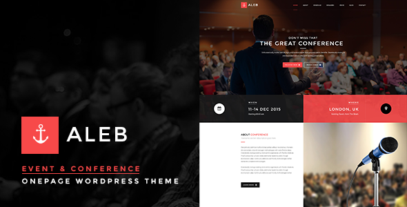 Event WordPress Theme for Conference Marketing - Aleb