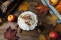 Pumpkin spice latte with cream, wool plaid, top view - PhotoDune Item for Sale