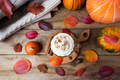 Pumpkin spice latte with cream and cinnamon, top view - PhotoDune Item for Sale