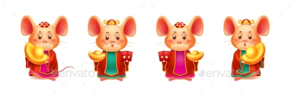 Rats or Mice with Red Envelope and Golden Ingot