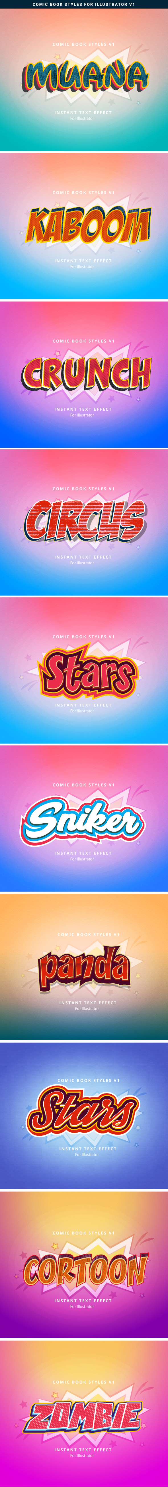 Comic Book Text Effect Graphics Designs Templates