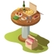 Isometric Wooden Table for Picnic with Pizza - GraphicRiver Item for Sale