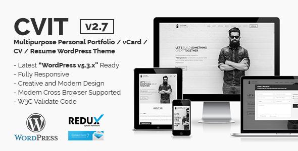 CVIT   Multipurpose Personal Portfolio / vCard / CV / Resume WordPress Theme