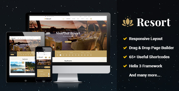 Resort II - Ultimate Responsive Hotel, Travel Joomla Template