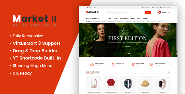 Market II - Multipurpose eCommerce VirtueMart 3 Joomla Template