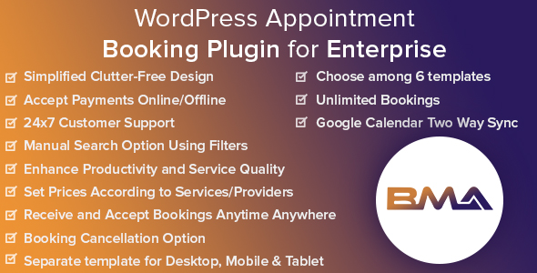 BMA - WordPress Appointment Booking Plugin for Enterprise