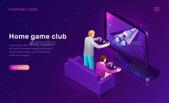 Home Game Club Isometric Concept