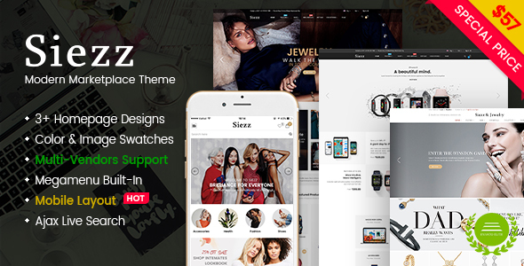 Siezz - Modern Multi Vendor MarketPlace WordPress Theme (Mobile Layout Included)