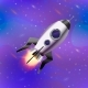 Cartoon Space Rocket on Deep Space Background - GraphicRiver Item for Sale