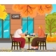 Couple Meeting on Terrace of Coffeehouse Vector - GraphicRiver Item for Sale