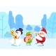 Santa and Snowman with Elf in Winter Park Vector - GraphicRiver Item for Sale