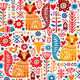Folk Plants and Animals Seamless Pattern - GraphicRiver Item for Sale