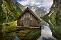 Old wooden cabin in alpine Lake Obersee - PhotoDune Item for Sale