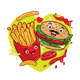 French Fries and Hamburger Cartoon Character - GraphicRiver Item for Sale