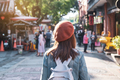 Young woman traveler walking in the shopping street, Travel lifestyle concept - PhotoDune Item for Sale