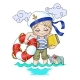 Cartoon Illustration Relaxation at Sea - GraphicRiver Item for Sale