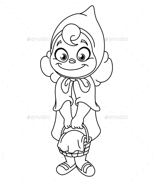 Outlined Little Red Riding Hood