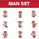 Cartoon Man Sticker Set - GraphicRiver Item for Sale