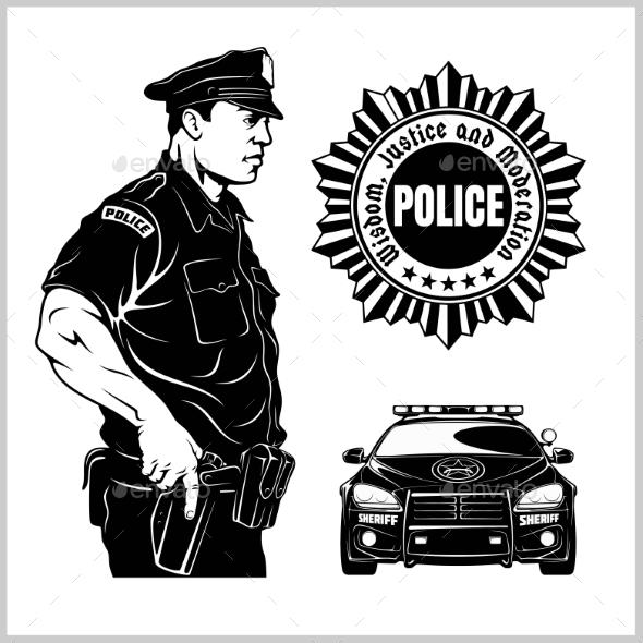 Police Vector Set - Police Car and Policeman