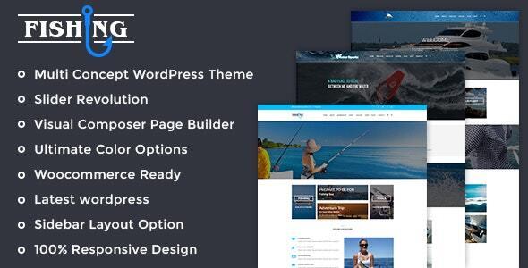 Fishing Yacht Water Sports WordPress Theme
