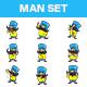 Cartoon Mustache Man Set - GraphicRiver Item for Sale