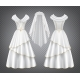 White Wedding Woman Dress with Tulle Veil - GraphicRiver Item for Sale
