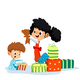 Cartoon Illustration of Two Children with Gifts - GraphicRiver Item for Sale