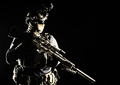 Army marksman with sniper rifle in darkness - PhotoDune Item for Sale