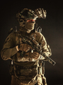 Anti-terrorist squad equipped fighter soldier in darkness - PhotoDune Item for Sale