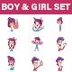 Cartoon Boy and Girl Set - GraphicRiver Item for Sale