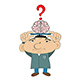 Illustration Cartoon Man with Brain on Tray - GraphicRiver Item for Sale