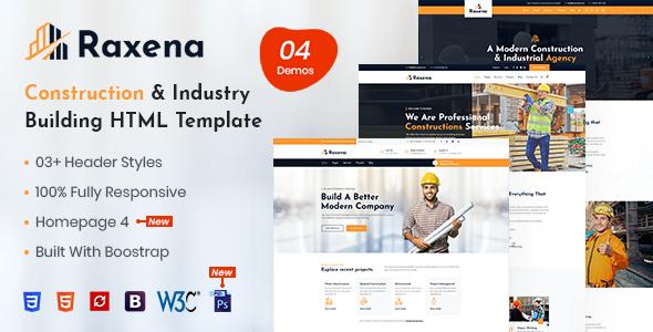 Raxena – Construction HTML Template