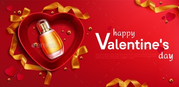 Heart Shapedred Open Gift Box with Perfume Bottle
