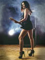 Beautiful woman with red hair playing electric guitar - PhotoDune Item for Sale