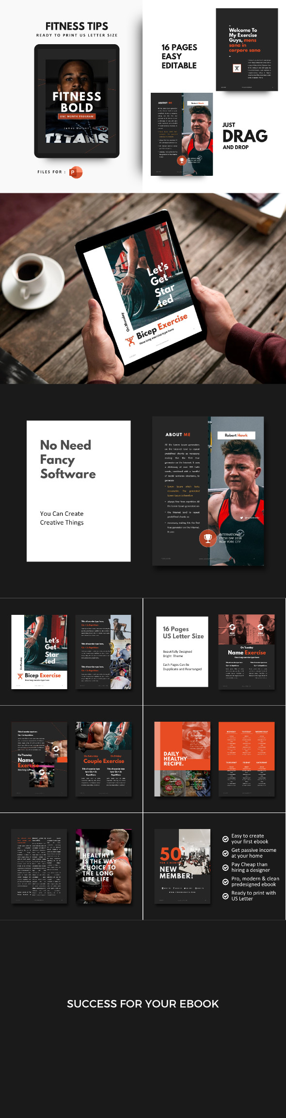 Fitness Bold eBook Template PowerPoint
