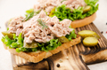 Homemade tuna salad sandwiches on cutting board with pickles aside - PhotoDune Item for Sale