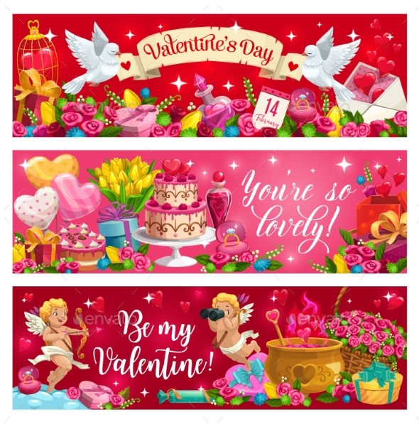 Valentines Day Holiday Cupids Flowers and Gifts