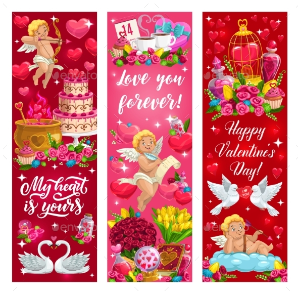 Valentine Day Love Hearts Flowers and Angels