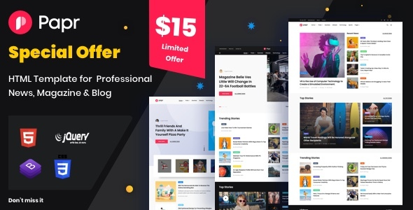 News Magazine Papr - News Magazine Website Template