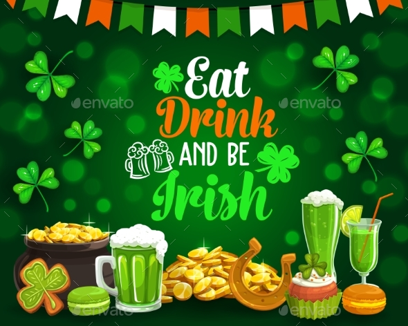 Patricks Holiday Food and Drinks Golden Coins