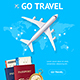 Realistic Detailed Airplane and Go Travel Concept Card - GraphicRiver Item for Sale