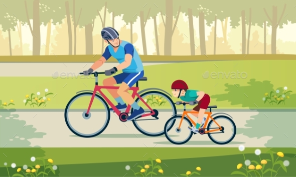 Cycling Father and Son