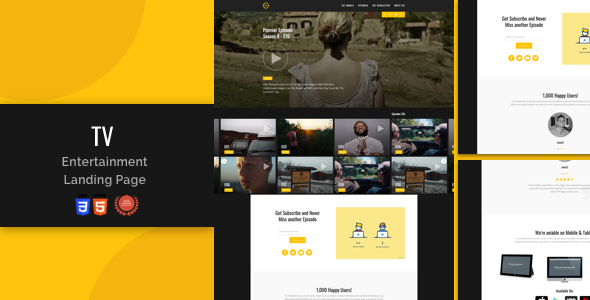 Tv-Entertainment Responsive Landing Page
