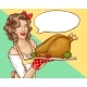 Pop Art Woman Holding Tray with Turkey or Chicken - GraphicRiver Item for Sale