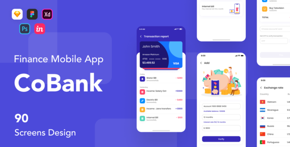 CoBank - Finance Mobile App UI KIT