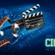 Cinema Producers Clapperboard for Film Making Flying in Space - GraphicRiver Item for Sale